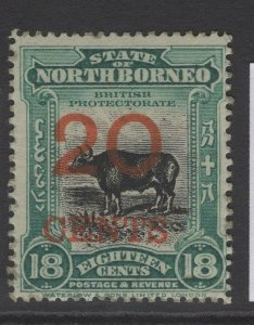 NORTH BORNEO SG177a 1909 20c on 18c BLUE-GREEN p14½-15 MTD MINT GUM DISTURBANCE