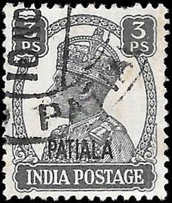 INDIA PATIALA  SC# O??  -  USED - NICE ALBUM SPACE FILLER