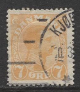 Denmark - Scott 98 - King Christian X Issue -1918 - Used - Single 7o Stamp