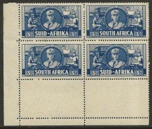 South Africa 1941-43 War issue 3d Deep Bl #85 Bilingual BLOCK F/VF-NH CV $45.00