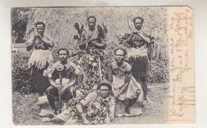 FIJI, 1904 ppc. FIJIAN WARRIERS, KEVII 1d., Lautoka to New Zealand.