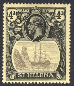St Helena 1922 4d Black on yellow TORN FLAG SG 92b Scott 95v LMM Cat £250($327)