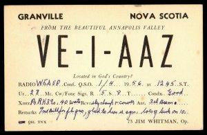 QSL QSO RADIO CARD VE1AAZ,Jim Whitman,  Granville, Nova Scotia (Q3555)