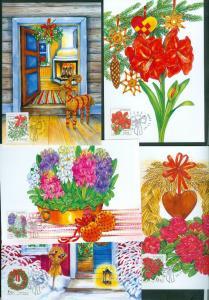 Sweden. Maximum Card 1998.Complete Set 5 Card. Christmas Flowers.