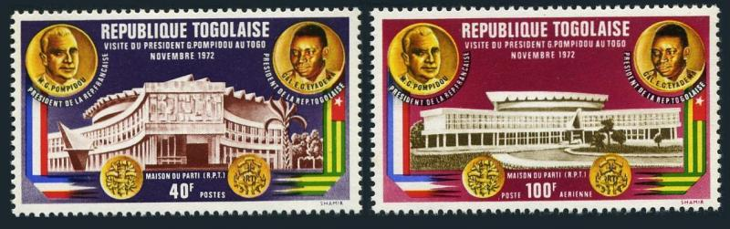 Togo 826,C189,MNH.Michel 951-952. Visit of President Georges Pompidou of France.