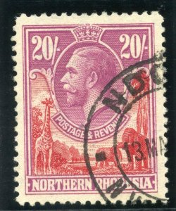 Northern Rhodesia 1925 KGV 20s carmine-red & rose-purple VFU. SG 17. Sc 17.