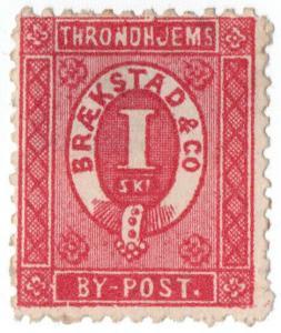 (I.B-CK) Norway Local Post : Trondheim 1sk (Braekstad & Co)