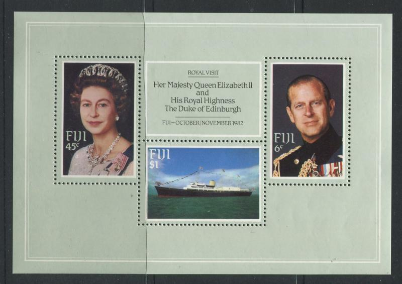 Fiji - Scott 476 - Royal Visit  Issue 1982- MNH - Souvenir Sheet with 3  Stamp