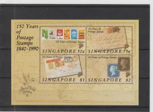 Singapore  Scott#  566a  MNH S/S  (1990 First Postage Stamps)
