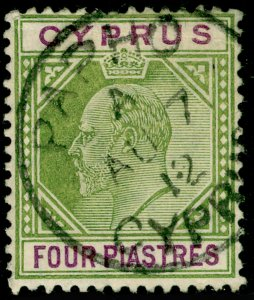 CYPRUS SG66, 4pi olive-green & purple, USED, CDS. Cat £19.