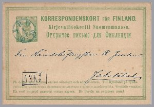 FINLAND - 1874 8P Postal Card - Michel 6b - Abo to Jakobstad