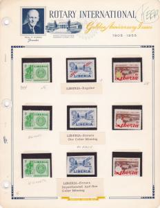 Liberia 1955 Rotary International Sct 354 C97,C98 Regular Missing Color + IMPERF