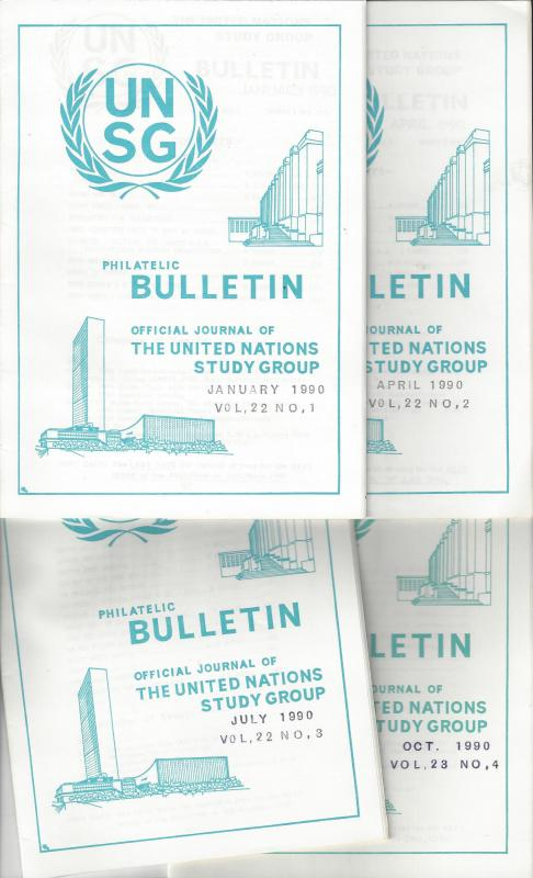 United Nations UNSG Philatelic Bulletin, Vol 22 1990  4 Dif editions