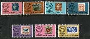 NICARAGUA 1038-1044 MNH SCV $1.75 BIN $1.00 STAMPS ON STAMPS