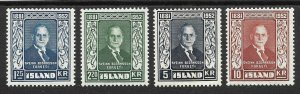 Doyle's_Stamps: Iceland 1952 Postage Stamp Set  Scott #274* to #277*  (L1)
