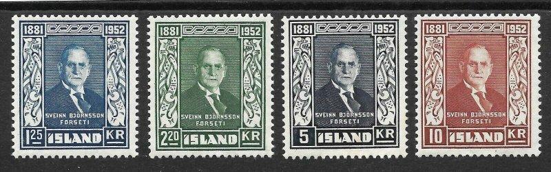 Doyle's_Stamps: Iceland 1952 Scott #274* to #277* LH set cv $58.75