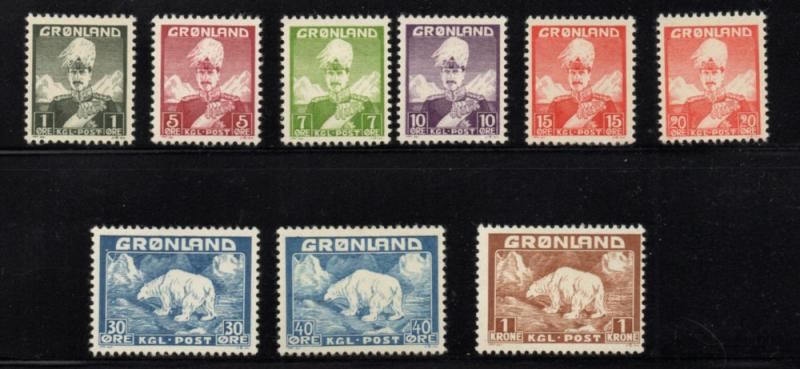 Greenland 1938 -1946 King & Polar Bear long stamp set mint