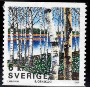 SWEDEN MNH** coil stamp Scott 2378, Birch Trees, 6 Kr denomination