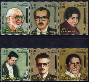 EL SALVADOR WRITERS Sc 1628-1633 SET of 6 MNH 2005