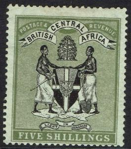 BRITISH CENTRAL AFRICA 1896 ARMS 5/- WMK CROWN CC