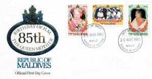 Maldive Islands 91096,1098-1099 Queen Mother U/A FDC