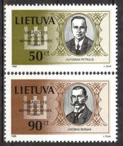 Lithuania 1998 National Day Persons Signatories set of 2 MNH