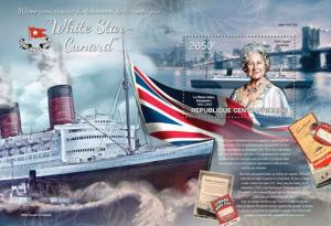 Central Africa -  2013 QEII, Cunard Ship - Stamp Souvenir Sheet 3H-437