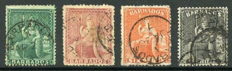 BARBADOS SG58/61 1873 Wmk Large Star Clean Cut Perf 14.5 to 15.5 Set Cat 396