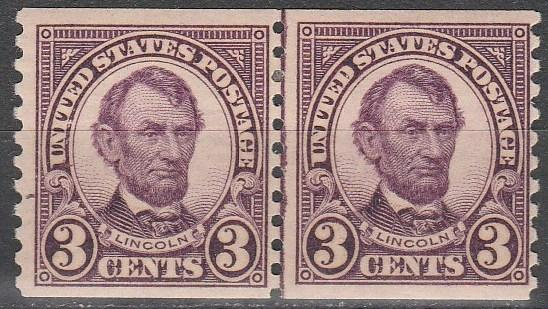 US #600  F-VF Unused Joint Line Pair CV $30.00  (S4225)