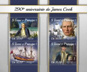 SAO TOME - 2018 - Captain James Cook - Perf 4v Sheet - MNH