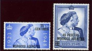 Morocco Agencies 1948 KGVI Silver Wedding set complete MNH. SG 176-177. Sc 93-94