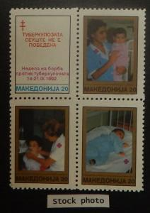 Macedonia RA19-22. 1992 Anti-Tuberculosis Week, se-tenant block, NH