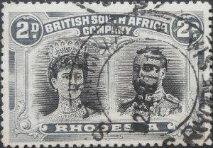 Rhodesia Double Head 2d with SHAMVA with blank (DC) postmark