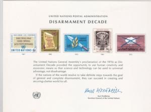 u.n. disarmament decade signed souvenir  card  ref 7783