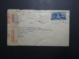 South Africa 1942 Censor Cover to USA / Sea Mail - Z12044