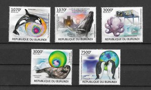 Burundi MNH Set Of 6 Antarctic Animals 2012
