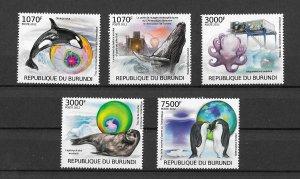 Burundi MNH Set Of 5 Antarctic Animals 2012