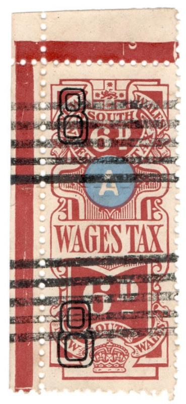 (I.B) Australia - NSW Revenue : Wages Tax 6d (1938)