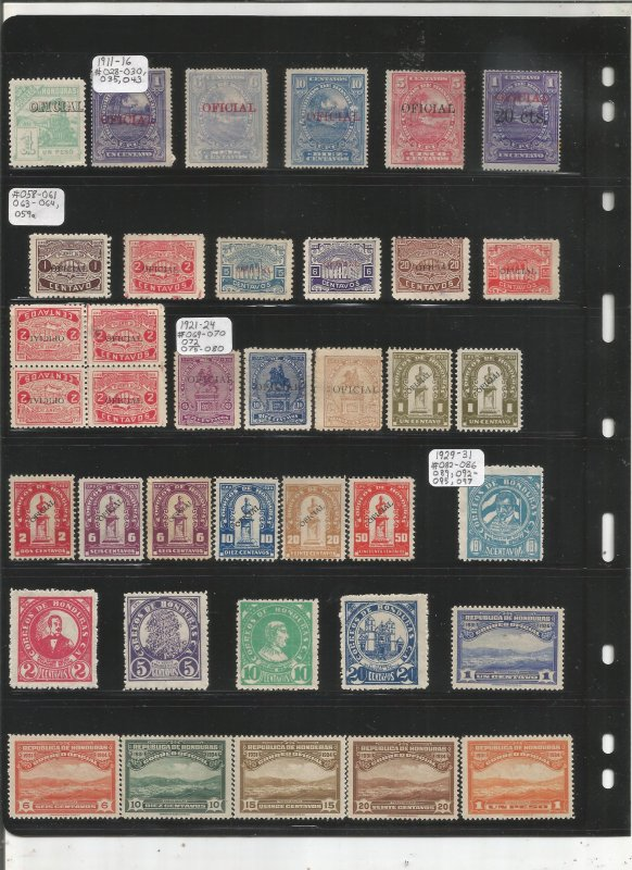 HONDURAS COLLECTION ON STOCK SHEET, MINT/USED