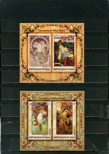 MALI 2011 PAINTINGS BY ALFONS MUCHA 2 SHEETS OF 2 STAMPS MNH