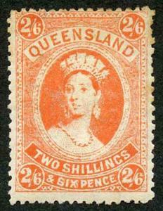 Queensland SG309 2/6 vermilion wmk Crown over A (toned) M/Mint