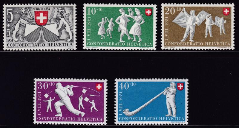 Switzerland 1951 Pro Patria Semi-Postal complete (5) VF/NH(**)