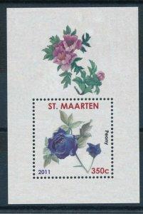 [SM009] St. Martin Maarten 2011 Roses Flowers Miniature Sheet MNH