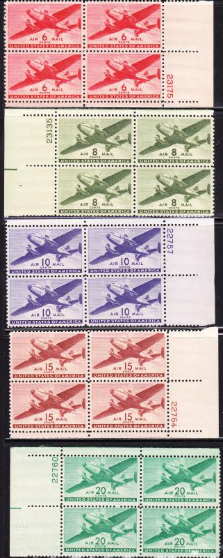 Transports Airmail set Complete in Plate Number Bocks of 4. F/VF/(**)/(*)