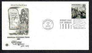 3190d Celebrate the Century SHostages Freed Unaddressed PCS FDC