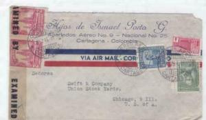 colombia to u.s.  1944  censor  air mail stamps cover ref r15480