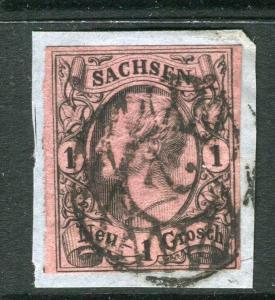 GERMANY SAXONY; 1855 early Johann classic Imperf 1gr. POSTMARK VALUE