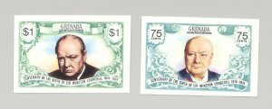 Grenada #31a-b Churchill 2v Imperf Proofs from S/S