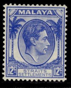MALAYSIA - Straits Settlements GVI SG285, 12c ultramarine, LH MINT. Cat £16.