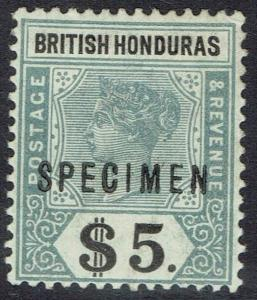 BRITISH HONDURAS 1891 QV KEY TYPE $5 SPECIMEN